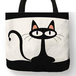 Tote Bag- New- Black Cat Kitty Tote bag